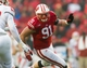 Nov 16, 2013; Madison, WI, USA; Wisconsin Badgers defensive end Konrad Zagzebski (91) during the game against the Indiana Hoosiers at Camp Randall Stadium. Wisconsin won 51-3.  Mandatory Credit: Jeff Hanisch-USA TODAY Sports