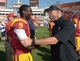 Sep 21, 2013; Los Angeles, CA, USA; Southern California Trojans receiver Marqise Lee (9) shakes hands with Utah State Aggies coach Matt Wells after the game at the Los Angeles Memorial Coliseum. USC defeated Utah State 17-14. Mandatory Credit: Kirby Lee-USA TODAY Sports