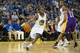 Oct 30, 2013; Oakland, CA, USA; Golden State Warriors point guard Toney Douglas (0) drives in against the Los Angeles Lakers during the fourth quarter at Oracle Arena. The Golden State Warriors defeated the Los Angeles Lakers 125-94. Mandatory Credit: Kelley L Cox-USA TODAY Sports
