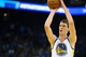 Oct 30, 2013; Oakland, CA, USA; Golden State Warriors center Ognjen Kuzmic (1) shoots a free throw against the Los Angeles Lakers during the fourth quarter at Oracle Arena. The Golden State Warriors defeated the Los Angeles Lakers 125-94. Mandatory Credit: Kelley L Cox-USA TODAY Sports