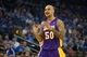 Oct 30, 2013; Oakland, CA, USA; Los Angeles Lakers center Robert Sacre (50) between plays against the Golden State Warriors during the fourth quarter at Oracle Arena. The Golden State Warriors defeated the Los Angeles Lakers 125-94. Mandatory Credit: Kelley L Cox-USA TODAY Sports