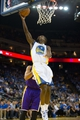 Oct 30, 2013; Oakland, CA, USA; Golden State Warriors point guard Toney Douglas (0) goes up for a basket against the Los Angeles Lakers during the fourth quarter at Oracle Arena. The Golden State Warriors defeated the Los Angeles Lakers 125-94. Mandatory Credit: Kelley L Cox-USA TODAY Sports