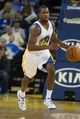 Oct 30, 2013; Oakland, CA, USA; Golden State Warriors point guard Toney Douglas (0) brings the ball down the court against the Los Angeles Lakers during the fourth quarter at Oracle Arena. The Golden State Warriors defeated the Los Angeles Lakers 125-94. Mandatory Credit: Kelley L Cox-USA TODAY Sports