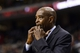 Nov 22, 2013; Philadelphia, PA, USA; Milwaukee Bucks head coach Larry Drew whistles during the fourth quarter against the Philadelphia 76ers at Wells Fargo Center. The Sixers defeated the Bucks 115-107 in overtime. Mandatory Credit: Howard Smith-USA TODAY Sports