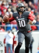 Nov 23, 2013; Little Rock, AR, USA; Arkansas Razorbacks quarterback Brandon Allen (10) looks for a open receiver against the Mississippi State Bulldogs  during the second quarter at War Memorial Stadium. Mandatory Credit: Justin Ford-USA TODAY Sports