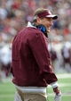 Nov 23, 2013; Little Rock, AR, USA; Mississippi State Bulldogs head coach Dan Mullen during a timeout against the Arkansas Razorbacks during the second quarter at War Memorial Stadium. Mandatory Credit: Justin Ford-USA TODAY Sports