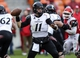 Nov 23, 2013; Houston, TX, USA; Cincinnati Bearcats quarterback Brendon Kay (11) attempts a pass during the second quarter against the Houston Cougars at BBVA Compass Stadium. Mandatory Credit: Troy Taormina-USA TODAY Sports