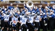 Nov 23, 2013; Hattiesburg, MS, USA; The Middle Tennessee Blue Raiders marching band congratulates football players after a second quarter touchdown by wide receiver Tavarres Jefferson (not pictured) against the Southern Miss Golden Eagles at M.M. Roberts Stadium. Mandatory Credit: Chuck Cook-USA TODAY Sports
