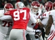 Nov 23, 2013; Columbus, OH,  Indiana Hoosiers quarterback Nate Sudfeld (7) is sacked in the second quarter by Ohio State Buckeyes player Joey Bosa (97) at Ohio Stadium. Mandatory Credit: Marc Lebryk-USA TODAY Sports