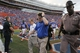 Nov 23, 2013; Gainesville, FL, USA; Florida Gators head coach Will Muschamp reacts as he walks off the field after they lost to the Georgia Southern Eagles at Ben Hill Griffin Stadium. Georgia Southern Eagles defeated the Florida Gators 26-20. Mandatory Credit: Kim Klement-USA TODAY Sports