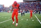 Nov 23, 2013; Tucson, AZ, USA; Arizona Wildcats running back Ka'Deem Carey (left) and quarterback B.J. Denker celebrate after defeating the Oregon Ducks at Arizona Stadium.  Arizona defeated Oregon 42-16. Mandatory Credit: Mark J. Rebilas-USA TODAY Sports
