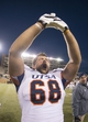 Nov 23, 2013; Denton, TX, USA; UTSA Roadrunners guard Cody Harris (68) celebrates the win over the North Texas Mean Green at Apogee Stadium. The Roadrunners defeated the Mean Green 21-13. Mandatory Credit: Jerome Miron-USA TODAY Sports