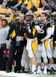 Nov 23, 2013; Hattiesburg, MS, USA; Southern Miss Golden Eagles head coach Todd Monken talks to quarterback Nick Mullens (14) on the sidelines against the Middle Tennessee Blue Raiders in the first quarter of their game at M.M. Roberts Stadium. Mandatory Credit: Chuck Cook-USA TODAY Sports