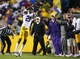 Nov 23, 2013; Baton Rouge, LA, USA; LSU Tigers defensive back Rashard Robinson (21) catches the ball for an interception against the Texas A&M Aggies in the second half at Tiger Stadium. LSU defeated Texas A&M 34-10. Mandatory Credit: Crystal LoGiudice-USA TODAY Sports