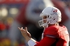 Nov 23, 2013; Fresno, CA, USA; Fresno State Bulldogs quarterback Derek Carr (4) encourages teammates during action against the New Mexico Lobos in the third quarter at Bulldog Stadium. The Bulldogs defeated the Lobos 69-28. Mandatory Credit: Cary Edmondson-USA TODAY Sports