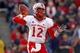 Nov 23, 2013; Fresno, CA, USA; New Mexico Lobos quarterback Clayton Mitchem (12) prepares to throw a pass against the Fresno State Bulldogs in the third quarter at Bulldog Stadium. The Bulldogs defeated the Lobos 69-28. Mandatory Credit: Cary Edmondson-USA TODAY Sports