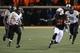 Nov 23, 2013; Stillwater, OK, USA;  Oklahoma State Cowboys running back Jeremy Smith (31) runs the ball against Baylor Bears linebacker Eddie Lackey (5) at Boone Pickens Stadium. Mandatory Credit: Mark D. Smith-USA TODAY Sports
