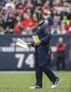 Nov 24, 2013; Houston, TX, USA; Houston Texans offensive coordinator Rick Dennison stands on the field during the second quarter against the Jacksonville Jaguars at Reliant Stadium. Mandatory Credit: Troy Taormina-USA TODAY Sports