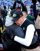Nov 24, 2013; Baltimore, MD, USA; New York Jets head coach Rex Ryan (r) congratulates Baltimore Ravens head coach John Harbaugh (l) after their game at M&T Bank Stadium. The Ravens won 19-3. Mandatory Credit: Evan Habeeb-USA TODAY Sports