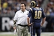 Nov 24, 2013; St. Louis, MO, USA;  St. Louis Rams head coach Jeff Fisher talks with quarterback Kellen Clemens (10) during the fourth quarter of a game against the Chicago Bears at the Edward Jones Dome. Mandatory Credit: Scott Kane-USA TODAY Sports