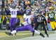 Nov 24, 2013; Green Bay, WI, USA; Minnesota Vikings wide receiver Cordarrelle Patterson (84) drops a pass in the end zone during overtime against the Green Bay Packers at Lambeau Field.  The Vikings and Packers tied 26-26.  Mandatory Credit: Jeff Hanisch-USA TODAY Sports