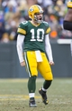 Nov 24, 2013; Green Bay, WI, USA; Green Bay Packers quarterback Matt Flynn (10) celebrates a play during the fourth quarter against the Minnesota Vikings at Lambeau Field.  The Vikings and Packers tied 26-26.  Mandatory Credit: Jeff Hanisch-USA TODAY Sports
