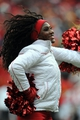 Nov 24, 2013; Kansas City, MO, USA; A Kansas City Chiefs cheerleader entertains the crowd during the second half of the game  against the San Diego Chargers at Arrowhead Stadium. The Chargers won 41-38. Mandatory Credit: Denny Medley-USA TODAY Sports
