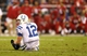 Nov 24, 2013; Phoenix, AZ, USA; Indianapolis Colts quarterback Andrew Luck reacts after being tackled in the second half against the Arizona Cardinals at University of Phoenix Stadium. The Cardinals defeated the Colts 40-11. Mandatory Credit: Mark J. Rebilas-USA TODAY Sports