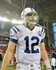 Nov 24, 2013; Phoenix, AZ, USA; Indianapolis Colts quarterback Andrew Luck (12) looks on after losing 40-1 to the Arizona Cardinals at University of Phoenix Stadium. Mandatory Credit: Matt Kartozian-USA TODAY Sports