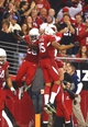 Nov 24, 2013; Phoenix, AZ, USA; Arizona Cardinals running back Rashard Mendenhall (28) is congratulated by teammate Michael Floyd (15) after scoring a touchdown in the second half against the Indianapolis Colts at University of Phoenix Stadium. The Cardinals defeated the Colts 40-11. Mandatory Credit: Mark J. Rebilas-USA TODAY Sports