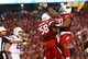 Nov 24, 2013; Phoenix, AZ, USA; Arizona Cardinals defensive tackle Darnell Dockett (right) celebrates with linebacker Daryl Washington after tackling Indianapolis Colts quarterback Andrew Luck in the second half at University of Phoenix Stadium. The Cardinals defeated the Colts 40-11. Mandatory Credit: Mark J. Rebilas-USA TODAY Sports