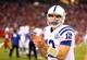 Nov 24, 2013; Phoenix, AZ, USA; Indianapolis Colts quarterback Andrew Luck in the second half against the Arizona Cardinals at University of Phoenix Stadium. The Cardinals defeated the Colts 40-11. Mandatory Credit: Mark J. Rebilas-USA TODAY Sports