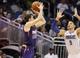 Nov 24, 2013; Orlando, FL, USA; Phoenix Suns shooting guard Goran Dragic (1) shoots over Orlando Magic center Nikola Vucevic (9) during the second half at Amway Center. Phoenix Suns 104-96. Mandatory Credit: Kim Klement-USA TODAY Sports