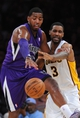 Nov 24, 2013; Los Angeles, CA, USA;  LLos Angeles Lakers power forward Shawne Williams (3) and Sacramento Kings power forward Jason Thompson (34) go for the ball during the second half of the game at Staples Center. Lakers won 100-86. Mandatory Credit: Jayne Kamin-Oncea-USA TODAY Sports