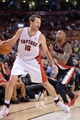 Nov 17, 2013; Toronto, Ontario, CAN; Toronto Raptors small forward Steve Novak (16) tries to get past Portland Trail Blazers point guard Mo Williams (25) during overtime of a game at the Air Canada Centre. Portland won the game 118-110. Mandatory Credit: Mark Konezny-USA TODAY Sports