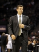 Nov 25, 2013; Charlotte, NC, USA; Boston Celtics head coach Brad Stevens during the first half of the game against the Charlotte Bobcats at Time Warner Cable Arena. Mandatory Credit: Sam Sharpe-USA TODAY Sports
