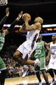 Nov 25, 2013; Charlotte, NC, USA; Charlotte Bobcats guard Gerald Henderson (9) drives to the basket as he is defended by Boston Celtics forward Jared Sullinger (7) during the second half of the game at Time Warner Cable Arena. Boston wins 96-86. Mandatory Credit: Sam Sharpe-USA TODAY Sports