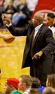 Nov 25, 2013; Portland, OR, USA; New York Knicks head coach Mike Woodson points against the Portland Trail Blazers at the Moda Center. Mandatory Credit: Craig Mitchelldyer-USA TODAY Sports