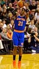 Nov 25, 2013; Portland, OR, USA; New York Knicks shooting guard Iman Shumpert (21) shoots against the Portland Trail Blazers at the Moda Center. Mandatory Credit: Craig Mitchelldyer-USA TODAY Sports