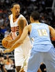 Nov 8, 2013; Phoenix, AZ, USA; Phoenix Suns power forward Channing Frye (8) prepares to pass as he is defended by Denver Nuggets power forward Anthony Randolph (15) during the fourth quarter at US Airways Center. Mandatory Credit: Casey Sapio-USA TODAY Sports