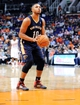 Nov 10, 2013; Phoenix, AZ, USA; New Orleans Pelicans shooting guard Eric Gordon (10) shoots a free throw during the third quarter against the Phoenix Suns at US Airways Center. The Suns beat the Pelicans 101-94. Mandatory Credit: Casey Sapio-USA TODAY Sports