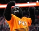 Nov 10, 2013; Phoenix, AZ, USA; Phoenix Suns mascot the Gorilla interacts with fans during the fourth quarter against the New Orleans Pelicans at US Airways Center. The Suns beat the Pelicans 101-94. Mandatory Credit: Casey Sapio-USA TODAY Sports