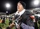 Nov 26, 2013; DeKalb, IL, USA; Northern Illinois Huskies quarterback Jordan Lynch (6) reacts after the game at Huskie Stadium. NIU defeats Western Michigan 33-14. Mandatory Credit: Mike DiNovo-USA TODAY Sports