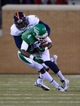 Nov 23, 2013; Denton, TX, USA; UTSA Roadrunners safety Cody Berry (3) tackles North Texas Mean Green wide receiver Darvin Kidsy (4) during the game at Apogee Stadium. The Roadrunners defeated the Mean Green 21-13. Mandatory Credit: Jerome Miron-USA TODAY Sports