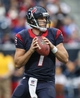 Nov 24, 2013; Houston, TX, USA; Houston Texans quarterback Case Keenum (7) looks for an open receiver during the fourth quarter against the Jacksonville Jaguars at Reliant Stadium. Mandatory Credit: Troy Taormina-USA TODAY Sports