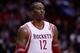 Nov 23, 2013; Houston, TX, USA; Houston Rockets power forward Dwight Howard (12) during the third quarter at Toyota Center. Mandatory Credit: Andrew Richardson-USA TODAY Sports