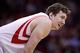 Nov 23, 2013; Houston, TX, USA; Houston Rockets center Omer Asik (3) during the fourth quarter at Toyota Center. Mandatory Credit: Andrew Richardson-USA TODAY Sports