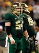 Nov 16, 2013; Arlington, TX, USA; Baylor Bears center Stefan Huber (54) smiles while on the line of scrimmage against the Texas Tech Red Raiders at AT&T Stadium. Baylor beat Texas Tech 63-34. Mandatory Credit: Tim Heitman-USA TODAY Sports