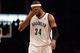 Nov 27, 2013; Brooklyn, NY, USA; Brooklyn Nets small forward Paul Pierce (34) looks on against the Los Angeles Lakers during the second half at Barclays Center. The Lakers won 99-94. Mandatory Credit: Joe Camporeale-USA TODAY Sports