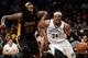 Nov 27, 2013; Brooklyn, NY, USA; Los Angeles Lakers center Jordan Hill (27) guards Brooklyn Nets small forward Paul Pierce (34) during the second half at Barclays Center. The Lakers won 99-94. Mandatory Credit: Joe Camporeale-USA TODAY Sports